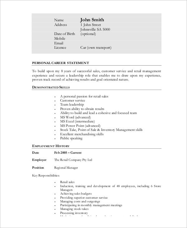 retail resume example