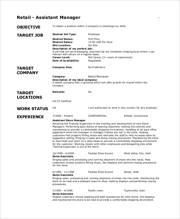Sample Retail Resume Objective