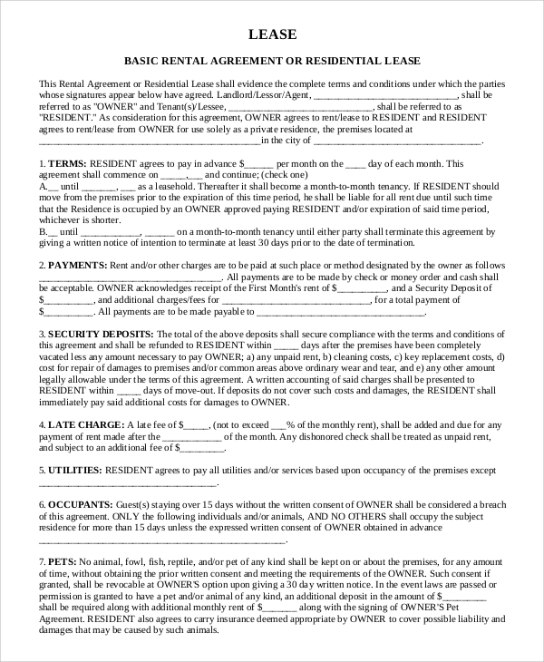 Basic Rental Lease Agreement
