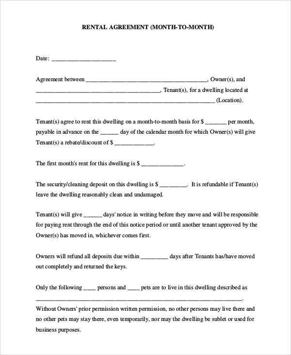 examples of rental agreements