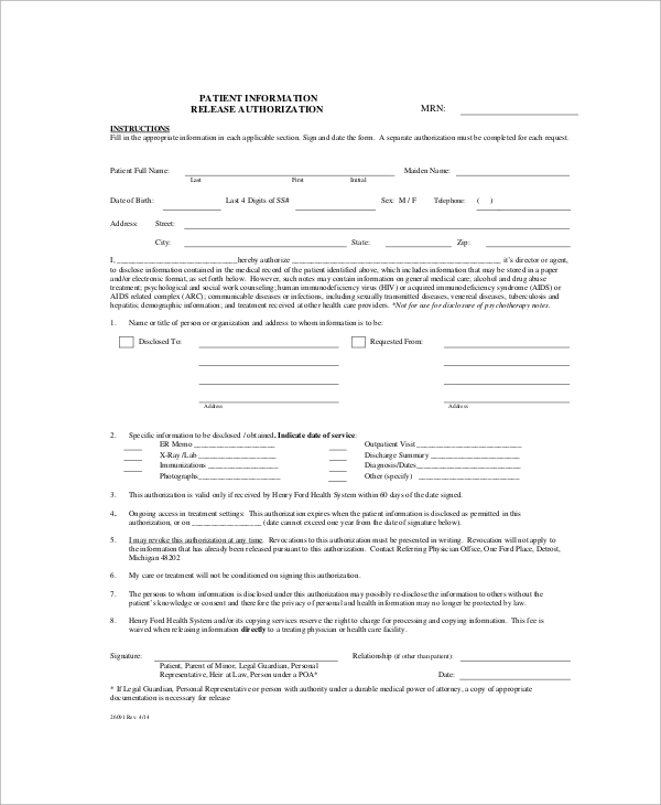 release of patient information form