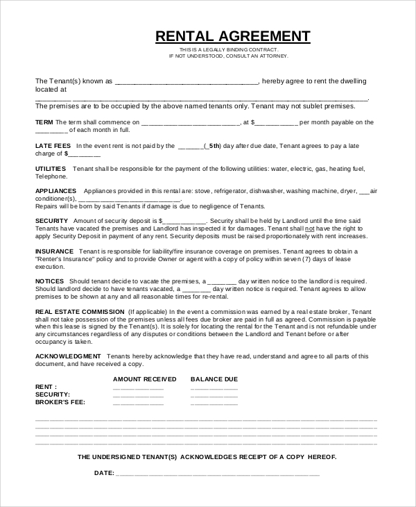 Sample Basic Rental Agreement   Examples In Pdf Word