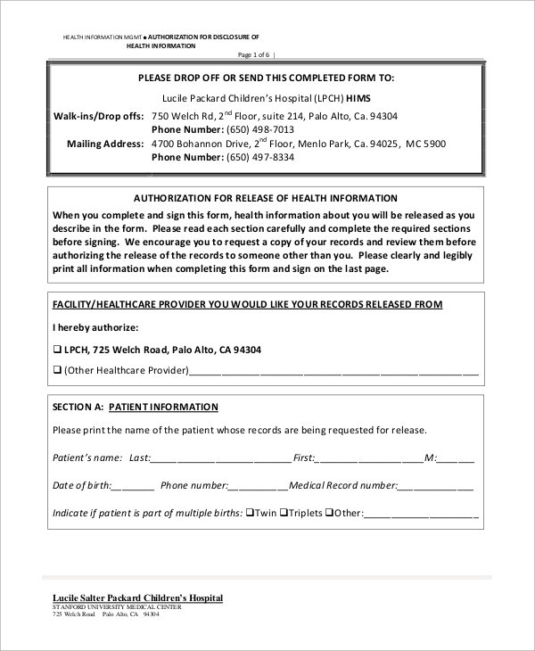 release of health information form
