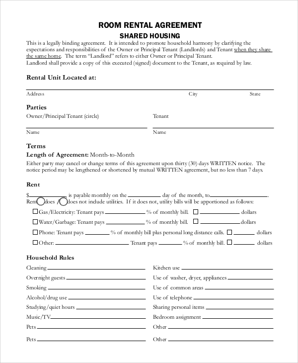 free 10  sample basic rental agreement templates in pdf