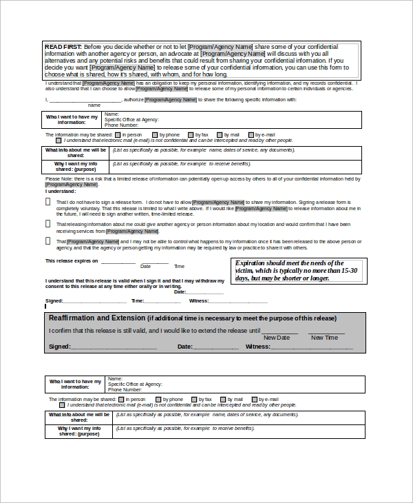 client limited release of information form