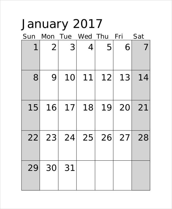 Printable Monthly Calendar Sample   Examples In Pdf Word Excel
