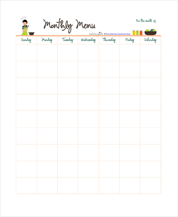 Printable Monthly Calendar Sample 8 Examples in PDF Word Excel – Printable Monthly Calendar Sample