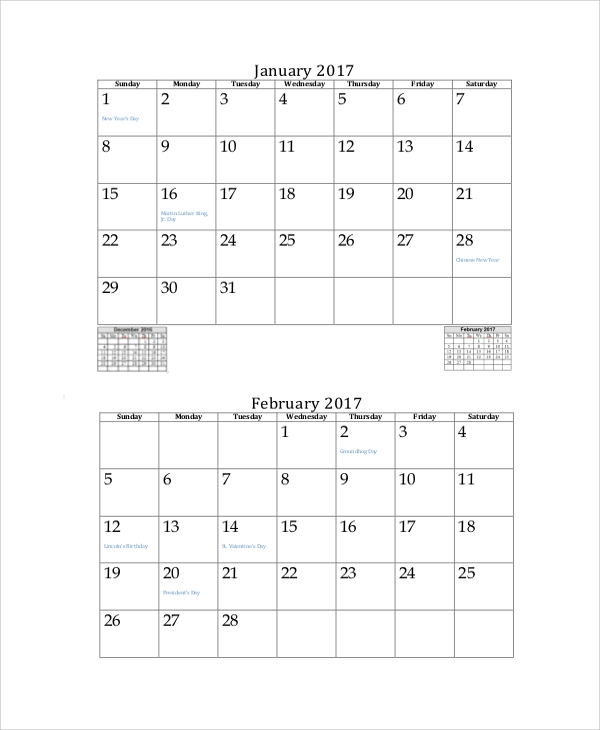 Free Worksheets Printable Month Free Math Worksheets for – Printable Monthly Calendar Sample