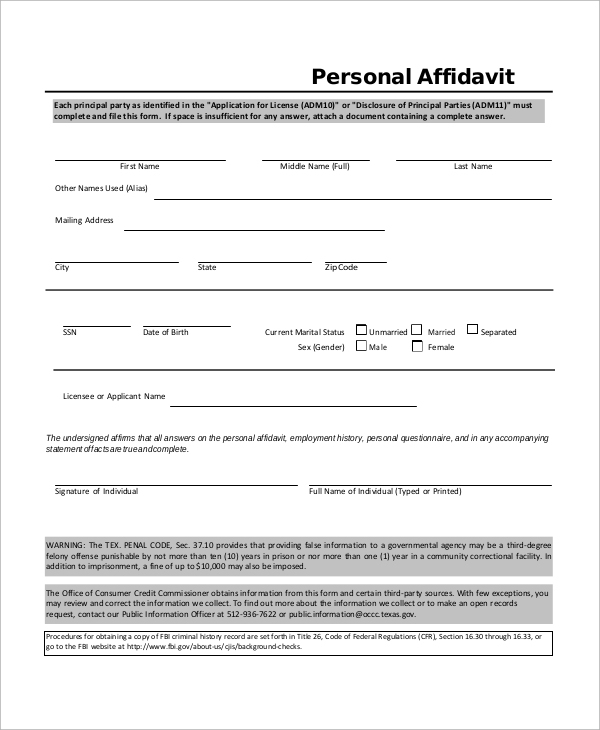 Sample Affidavit   Examples In Word Pdf