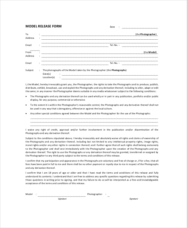 Model Release Form For Photographer