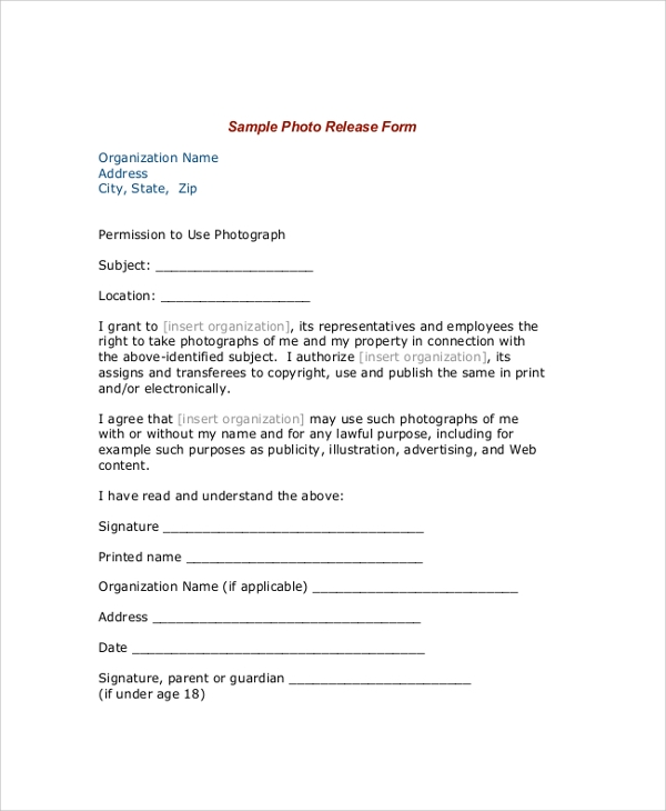 model photo release form1