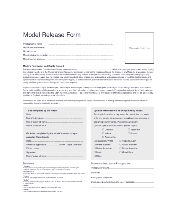 9 sample model release forms sample templates for Standard model release form template