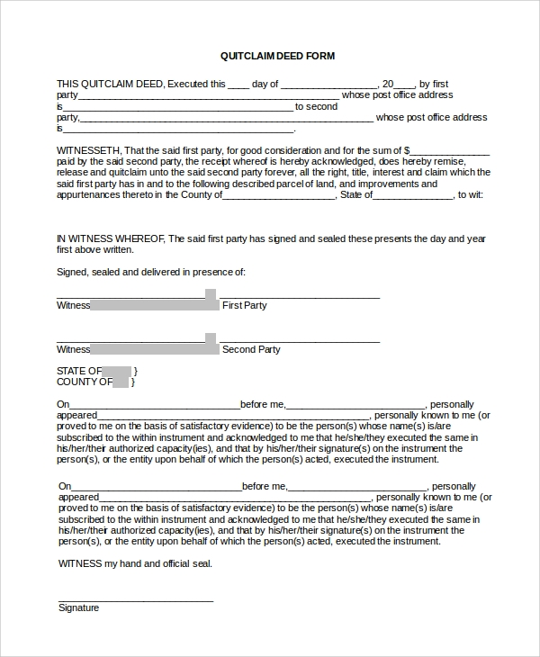 Sample Quick Claim Deed Form   Examples In Pdf Word