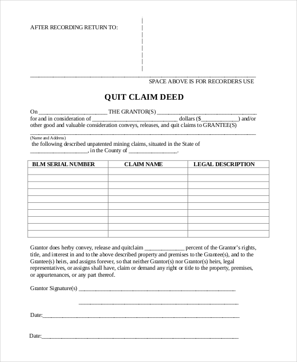 Sample Quick Claim Deed Form - 8+ Examples In Pdf, Word