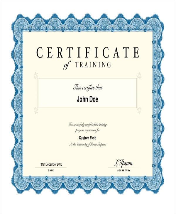 printable certificate of training