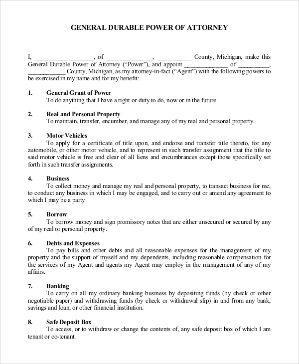 General Power Of Attorney Samples Sample Templates - Financial power of attorney template