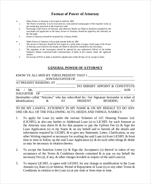 general power of attorney format