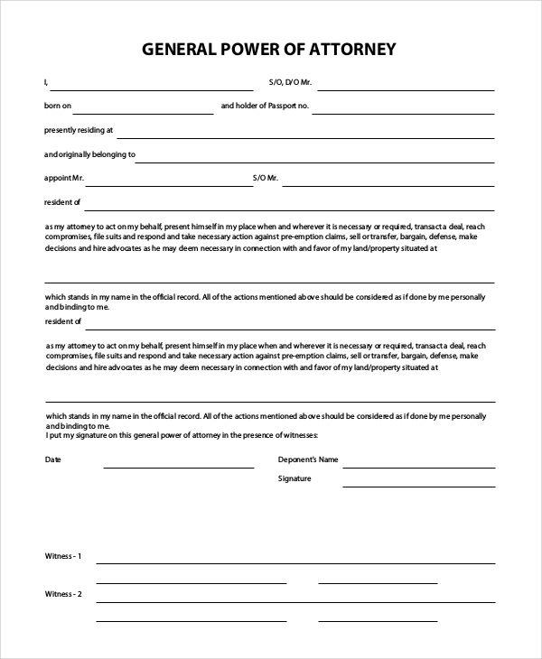 Sample General Power Of Attorney   Examples In Pdf Word