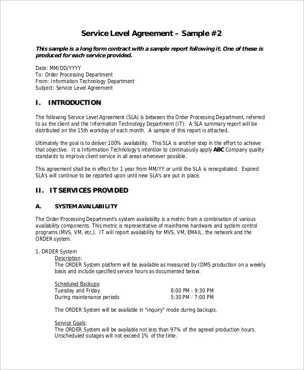 Sample Service Level Agreement - 9+ Examples in Word, PDF