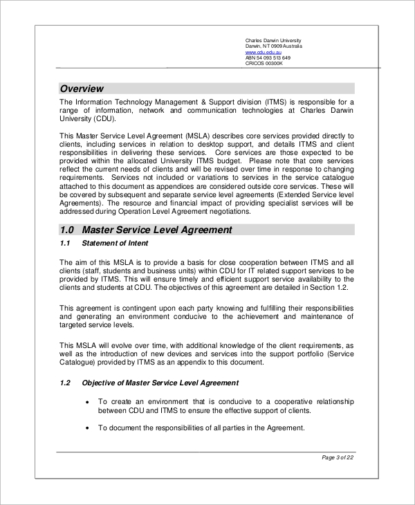 Sample Service Level Agreement   Examples In Word Pdf