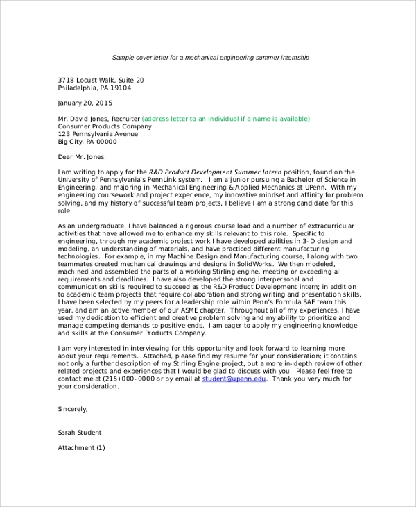 Cover letter sample for internship engineering for Cover letter for summer internship in computer science