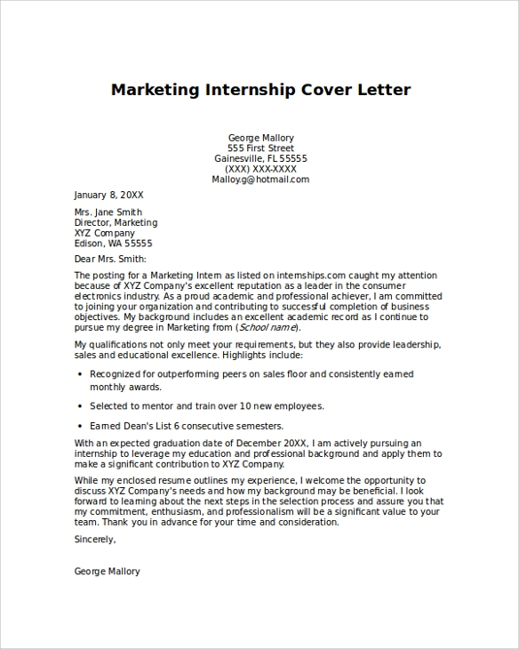 cover letter for marketing internship sample - Cover Letter For Internship Example