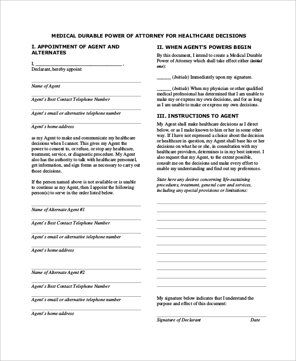 Sample Medical Power Of Attorney Form   Examples In Word Pdf