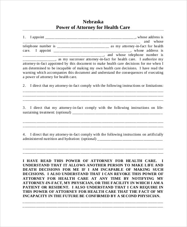 blank medical power of attorney form
