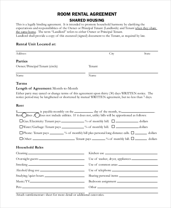 Sample Month To Month Rental Agreement   Examples In Pdf Word
