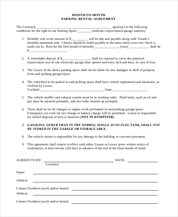 Sample Monthly Rental Agreements