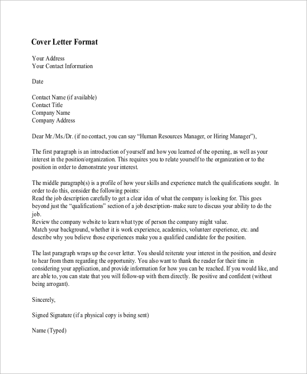 Sample Cover Letter For Resume   Examples In Word Pdf