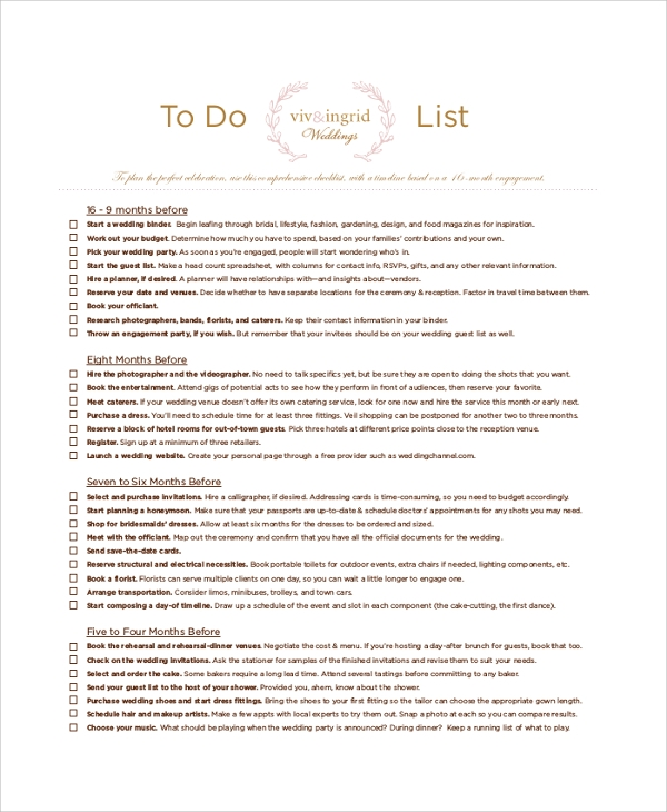 Printable To Do List Sample 8 Examples in PDF Word Excel – To Do List Samples