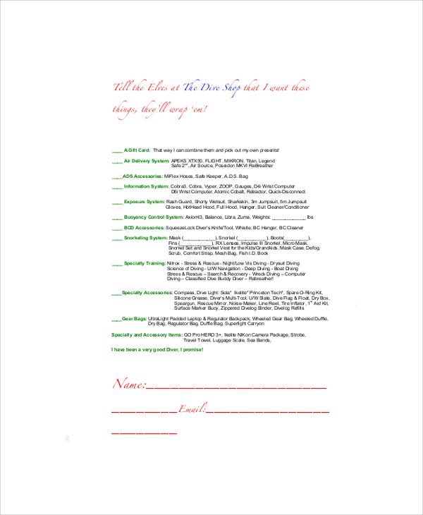 santa wish list printable