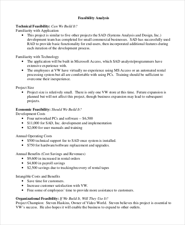 business feasibility study template free download - 8 technical analysis samples sample templates