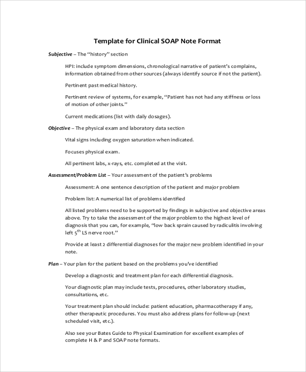 Soap Note Example   Samples In Pdf Word