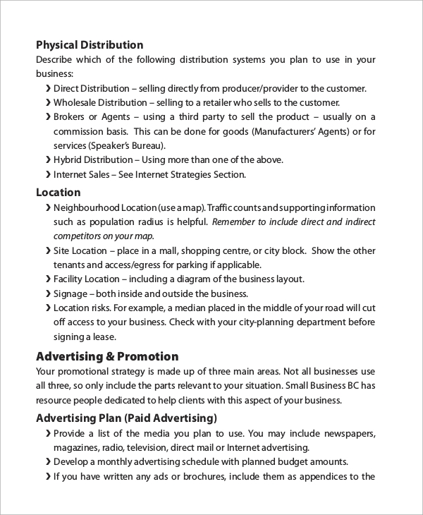 business plan example 8 samples in pdf