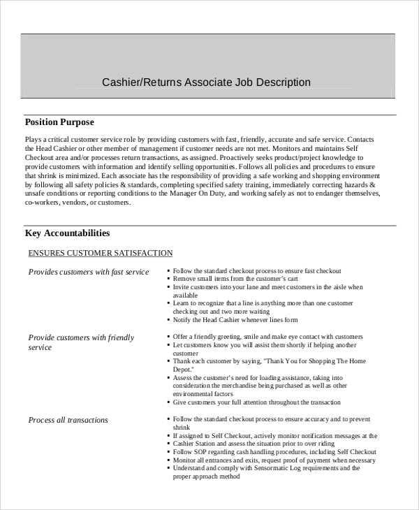 description cashier position resume