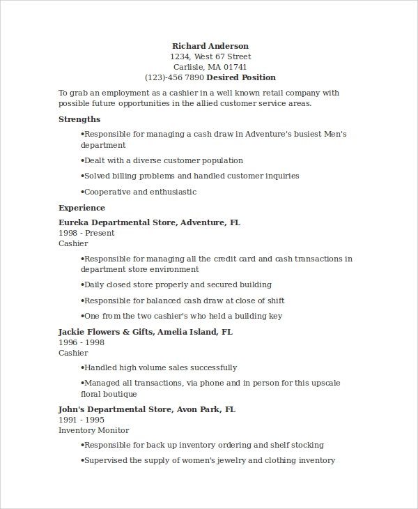 Customer Service Cashier Resume
