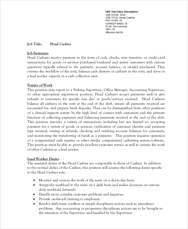Sample Cashier Resume 7 Examples In Word Pdf
