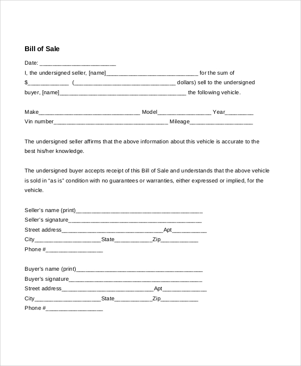 Blank Bill Of Sale For Car