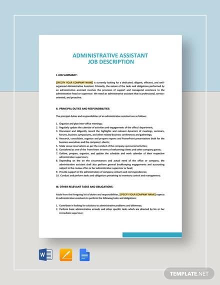 administrative assistant job description template