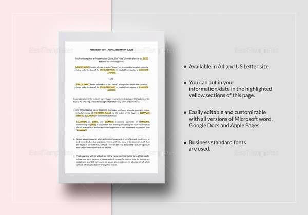 easy to edit promissory note with acceleration clause template