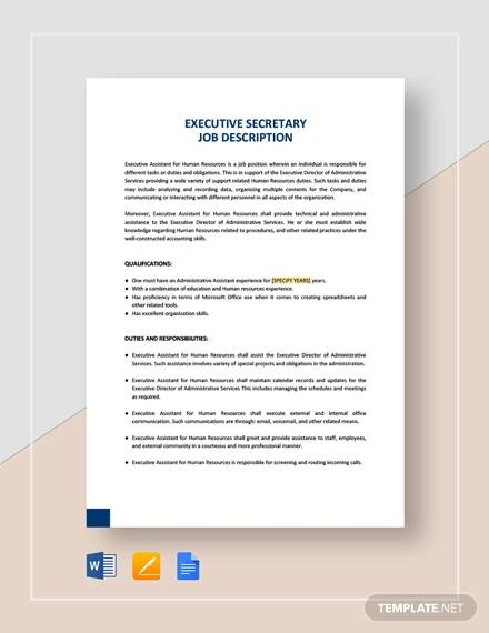 Sample Secretary Job Description - 9+ Examples in PDF, Word