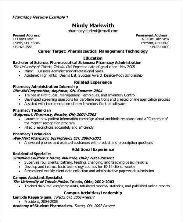 pharmacy student resumes