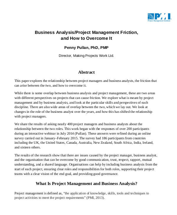 project management business analysis
