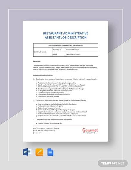 restaurant administrative assistant