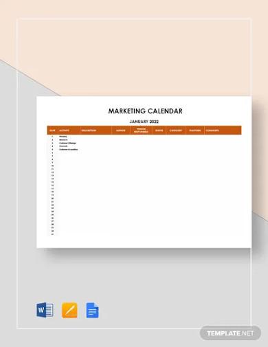 sample marketing calendar template