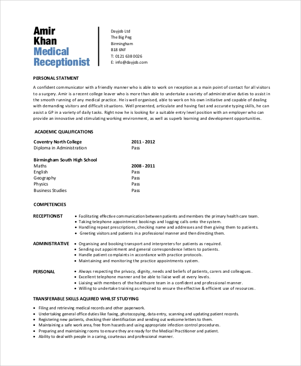free 7  sample receptionist resume templates in pdf