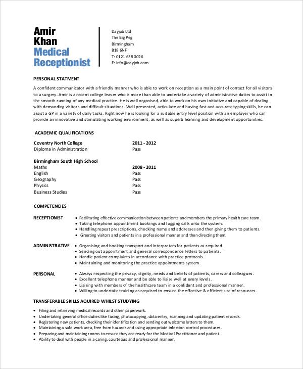 Do medical receptionist resume