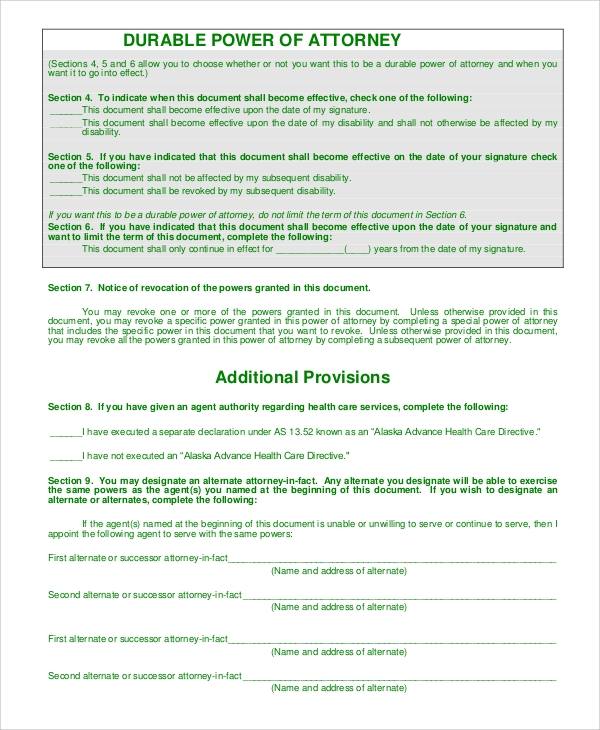 Durable Power Of Attorney Form Free Downloadable Durable General – Sample Durable Power of Attorney Form